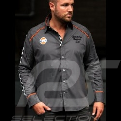Shirt Gulf chequered flag dark grey - men