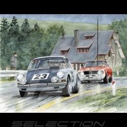 """Porsche Poster 911 Francorchamps 1967 """" Victoire pour un fil """" dédicacée"""