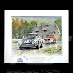 """Porsche Poster 911 Francorchamps 1967 """" Victoire pour un fil """" autographed"""