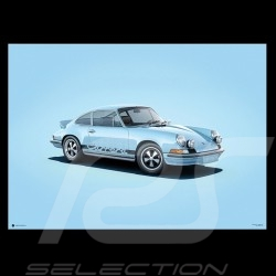 Porsche Poster 911 Carrera RS 1973 bleue blue blau