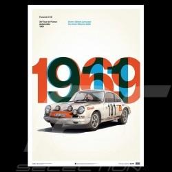 Porsche Poster 911 R vainqueur Tour de France 1969 Edition limitée