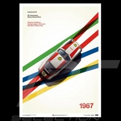 Porsche Poster 911 R Speed Record Monza 1967 Limited edition