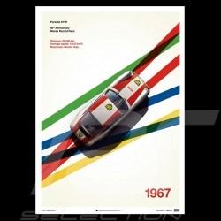 Porsche Poster 911 R Speed Record Record de vitesse Monza 1967 Geschwindigkeitsaufzeichnung Edition limitée