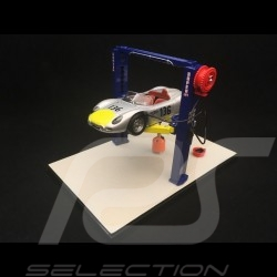 Two-post lift blue / yellow die-cast 1/43