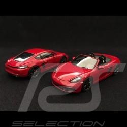 Duo Porsche 718 Boxster / Cayman GTS type 982 2017 carmin red 1/43 Spark WAP0202070J WAP0204200J