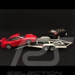 Remorque porte-voiture pour Porsche double essieu grise 1/43 Greenlight 14303
