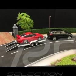Autotransporter Anhänger für Porsche Doppelachse grau 1/43 Greenlight 14303