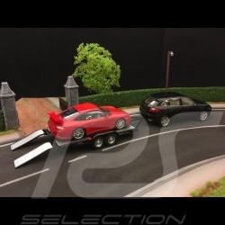 Remorque porte-voiture pour Porsche double essieu 1/43 Greenlight 14302 noire black schwarz