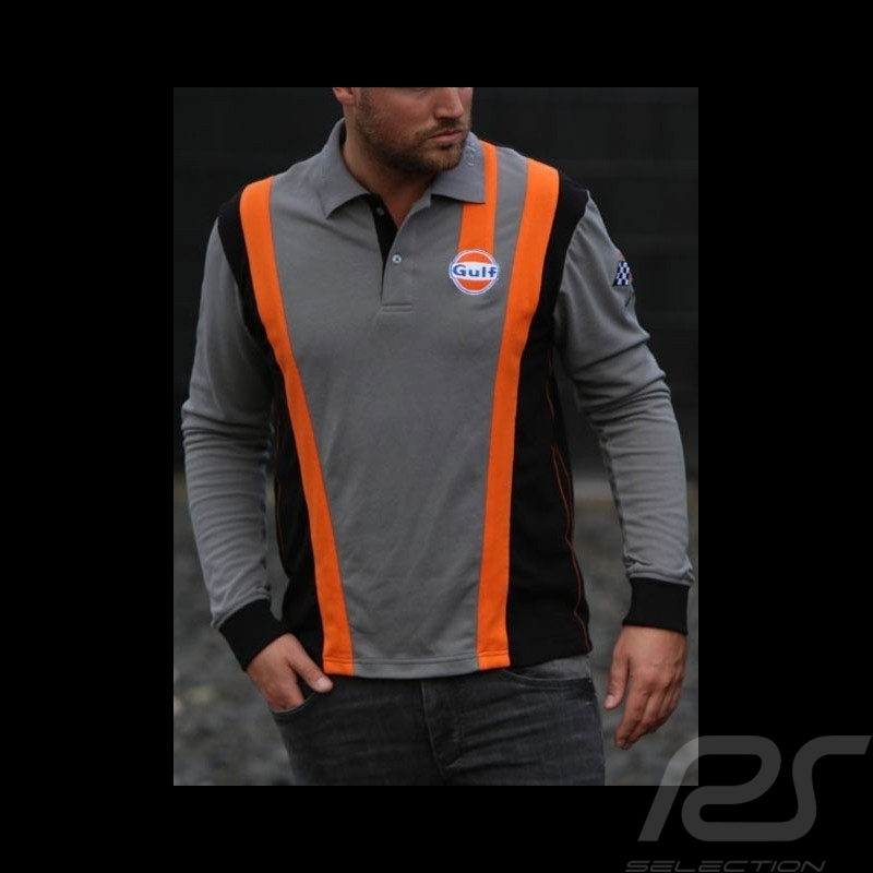 Long sleeves Polo Gulf Racing Team 50th anniversary grey - men