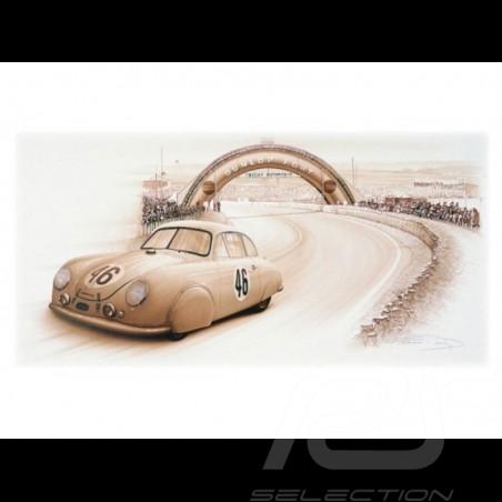 Porsche Poster 356 Le Mans 1951 n° 46 François Bruère - N109
