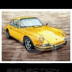 Porsche Poster 911 S 2.2 jaune 1969 Classique François Bruère - N111