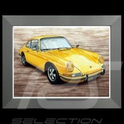 Porsche Poster 911 S 2.2 jaune 1969 Cadre aluminium François Bruère - N111