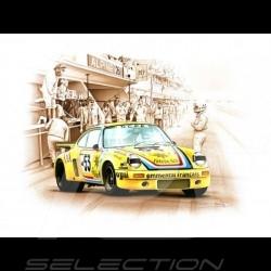 Porsche Poster 911 Carrera RSR Le Mans 1975 n° 53 Cachia François Bruère - N78