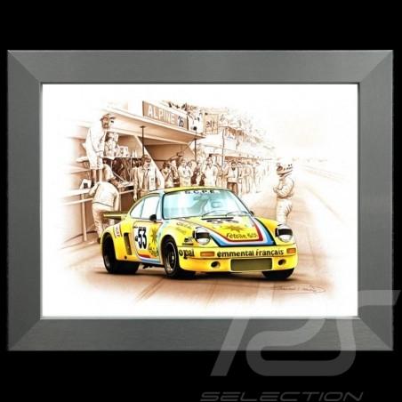 Porsche Poster 911 Carrera RSR Le Mans 1975 n° 53 Cachia Cadre aluminium François Bruère - N78