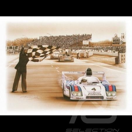 Porsche Poster 936 vainqueur Le Mans 1977 n° 4 François Bruère - N69