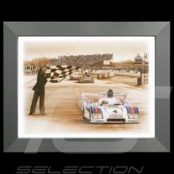 Porsche Poster 936 vainqueur Le Mans 1977 n° 4 Cadre aluminium François Bruère - N69