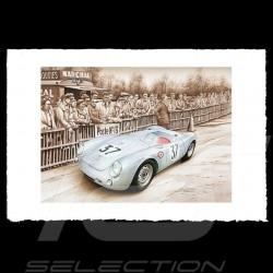 Porsche Poster 550 Le Mans 1955 n° 37 François Bruère - VA123
