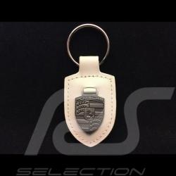 Porsche Schlüsselanhänger Wappen creme / Silber