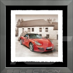Porsche Poster Boxster rot Aluminium Rahmen François Bruère - VA115
