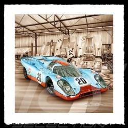 Porsche Poster 917 K Le Mans 1970 n° 20 Gulf François Bruère - VA107