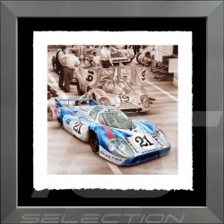 Porsche Poster 917 LH Le Mans 1971 n° 21 Martini Aluminium Rahmen François Bruère - VA101