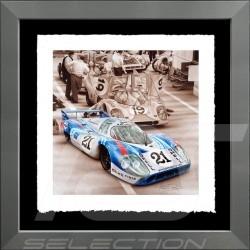 Porsche Poster 917 LH Le Mans 1971 n° 21 Martini Cadre aluminium François Bruère - VA101
