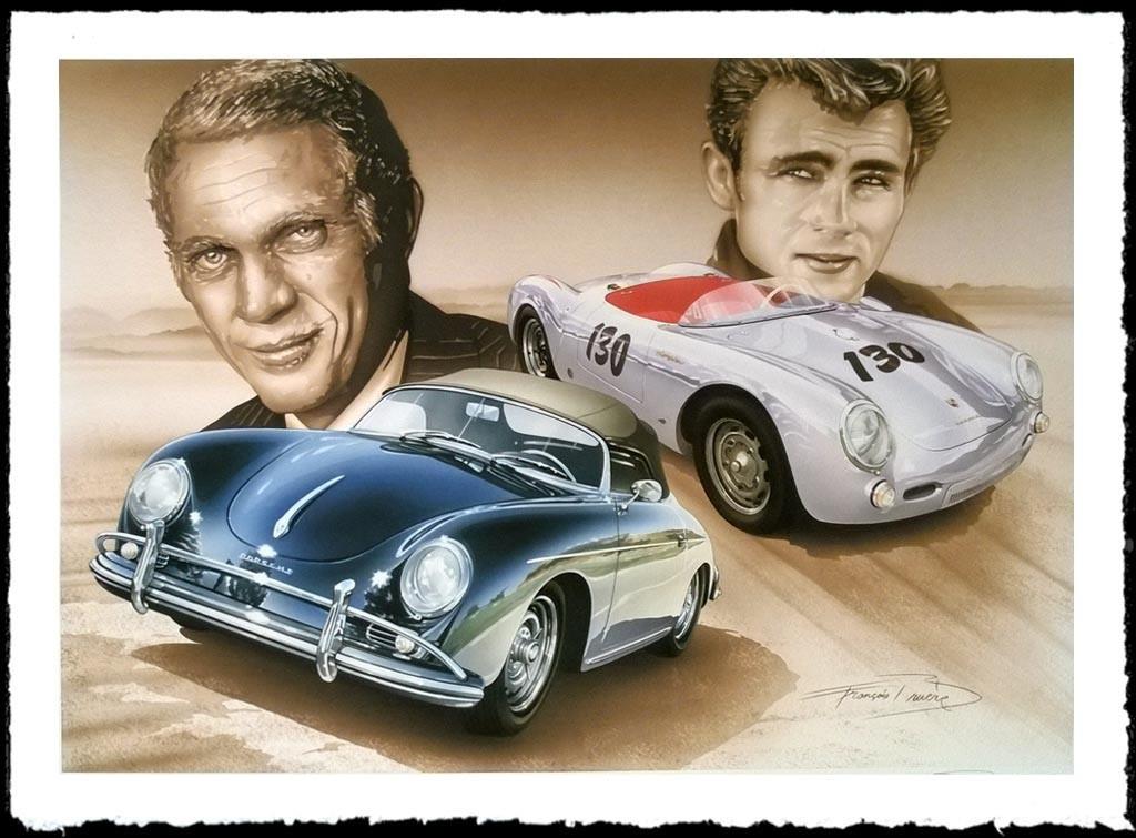 Porsche Poster 550 James Dean 356 Steve Mcqueen Francois Bruere Va133 Selection Rs