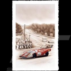 Porsche Poster 917 K vainqueur Le Mans 1970 n° 23 Salzburg François Bruère - LI02