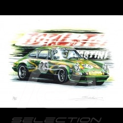 Porsche 911 S n° 25 Kremer en action à Rouen dessin original de Sébastien Sauvadet