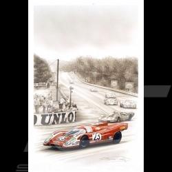 Porsche Postcard 917 K winner Le Mans 1970 n° 23 Salzburg François Bruère - CP57