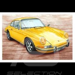 Porsche Postcard 911 S 2.2 yellow 1969 François Bruère - CP139