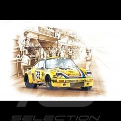 Porsche Postkarte 911 Carrera RSR Le Mans 1975 n° 53 Cachia François Bruère - CP82