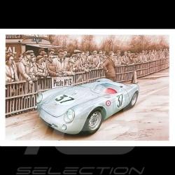 Porsche Postkarte 550 Le Mans 1955 n° 37 François Bruère - CP150