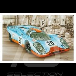 Porsche Postcard 917 K Le Mans 1970 n° 20 Gulf François Bruère - CP138