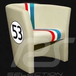 Fauteuil chair Stuhl cabriolet Racing Inside n° 53 Herbie blanc cassé / bande tricolore