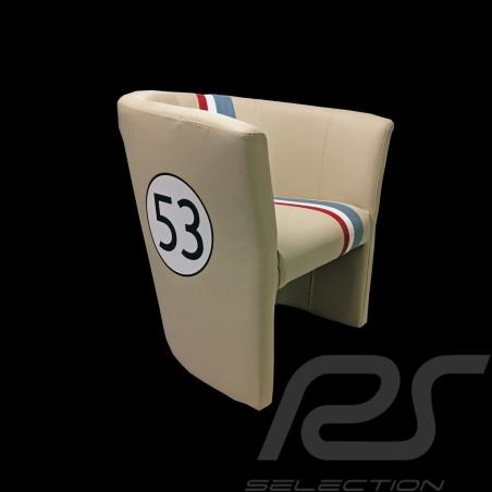 Fauteuil cabriolet Tub chair Tubstuhl Racing Inside n° 53 Herbie blanc cassé / bande tricolore