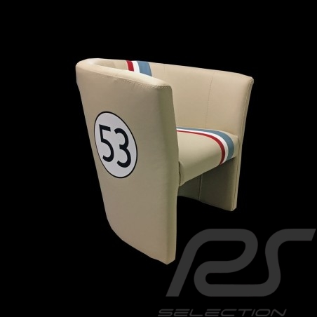 Tub chair Racing Inside n° 53 Herbie off-white / tricolor stripe