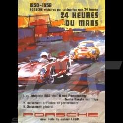 Carte postale Porsche 550 / 356 victoires victories siege Le Mans 1950 - 1956 10x15 cm