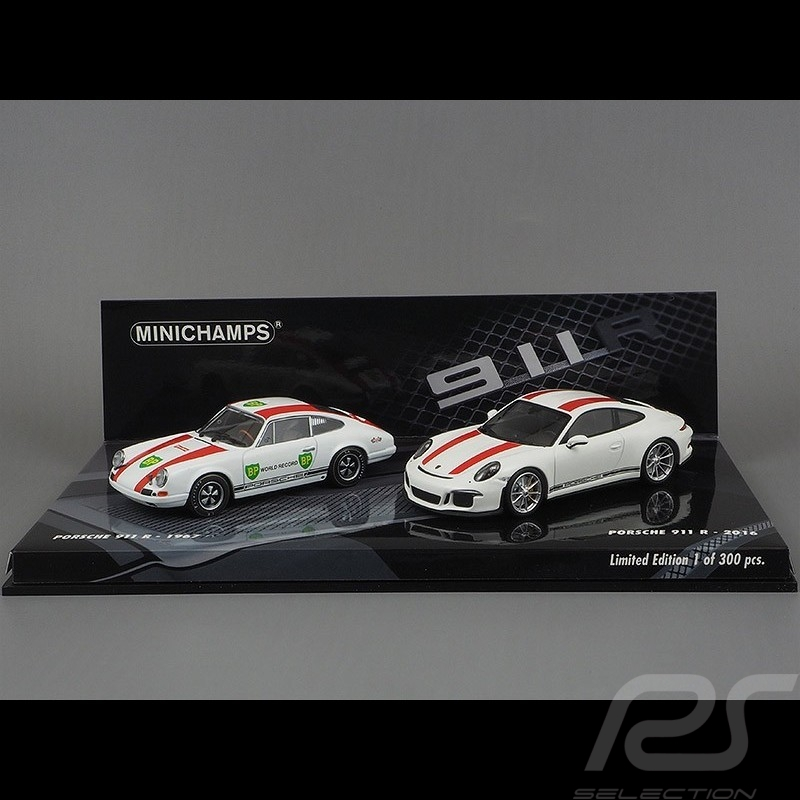 Set Porsche 911 R 1967 - 2016 1/43 Minichamps 413066221 blanc / rouge white / red weiß / rot