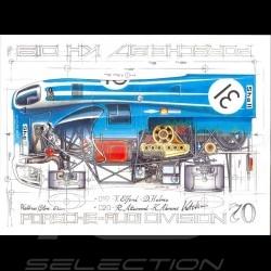 Porsche 917 KH 6h Watkins Glen 1970 n° 31 Kurt Ahrens signature Original Zeichnung von Sébastien Sauvadet