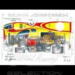 Porsche 917 Martini Racing Kyalami 1970 n° 2 Kurt Ahrens signature Original Zeichnung von Sébastien Sauvadet