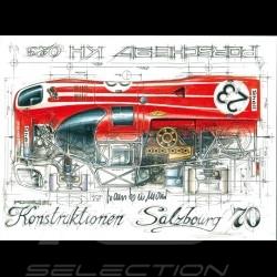 Porsche 917 Le Mans 1970 n° 23 Salzbourg Hans Herrmann signature dessin original de Sébastien Sauvadet