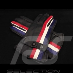 Gants de conduite Gulf Racing cuir noir Driving Gloves Racing black leather Fahren Handschuhe Gulf Racing schwarz Leder