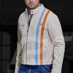 Veste Jacket Jacke Gulf Vintage coton beige - homme bandes cuir leather stripes Leder Steifen