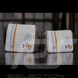 Sac bag tasche messenger Gulf victoire victory sieg Le Mans 1968 bandoulière beige cuir / tissu