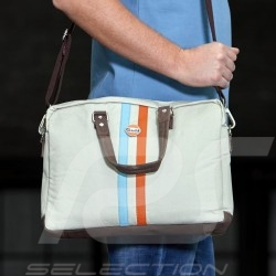 Sac Bag Tasche messenger Gulf bandoulière / poignées beige cuir / tissu