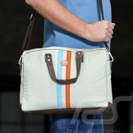 Messenger bag Gulf with strap and handles beige leather / fabric