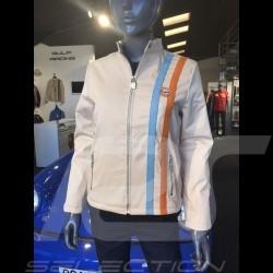 Veste Jacket Jacke Gulf Vintage bandes cuir coton beige - femme