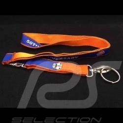Porte clé Gulf 50ème anniversaire 50th Anniversary ruban tour de cou fixation chrome orange et bleu lanyard key strap Schlüsse
