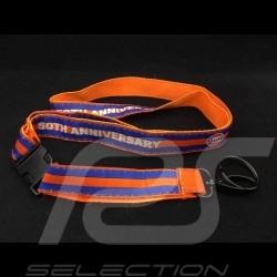 Porte clé  Gulf 50ème anniversaire 50th Anniversary ruban tour de cou fixation noire orange et bleu lanyard key strap Schlüsselr